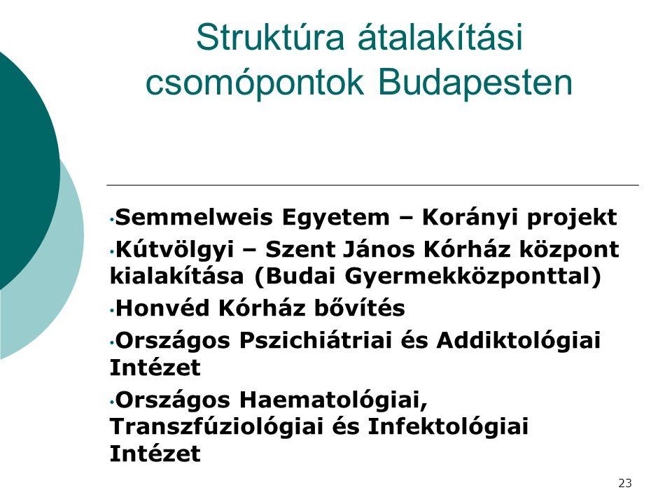 Struktúra átalakítási csomópontok Budapesten Semmelweis Egyetem – Korányi projekt Kútvölgyi – Szent János Kórház központ kialakítása (Budai Gyermekköz