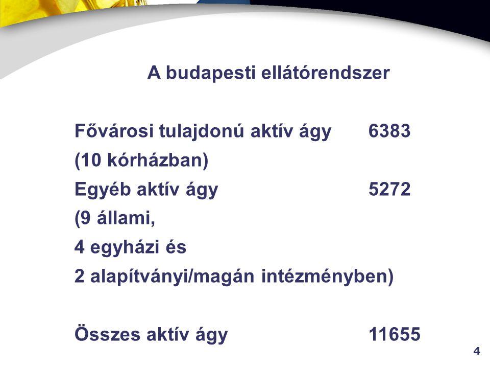 4 A budapesti ellátórendszer Fővárosi tulajdonú aktív ágy 6383 (10 kórházban) Egyéb aktív ágy5272 (9 állami, 4 egyházi és 2 alapítványi/magán intézményben) Összes aktív ágy11655