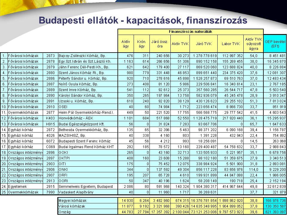 6 Budapesti ellátók - kapacitások, finanszírozás