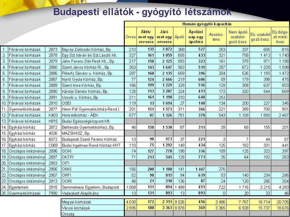 7 Budapesti ellátók - gyógyító létszámok
