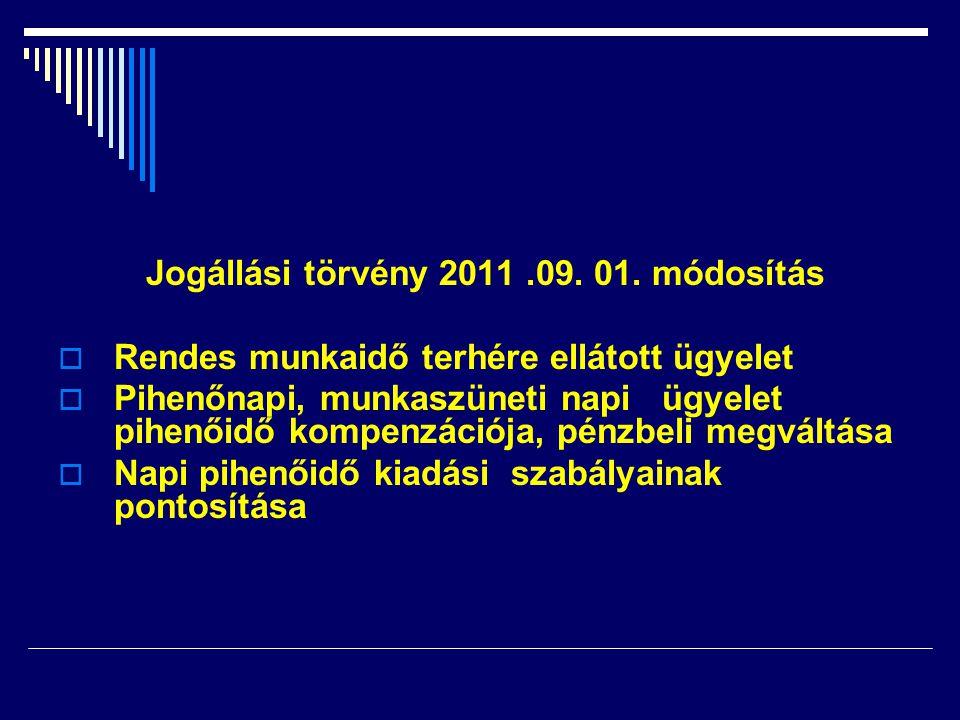 Jogállási törvény 2011.09. 01. módosítás  Rendes munkaidő terhére ellátott ügyelet  Pihenőnapi, munkaszüneti napi ügyelet pihenőidő kompenzációja, p