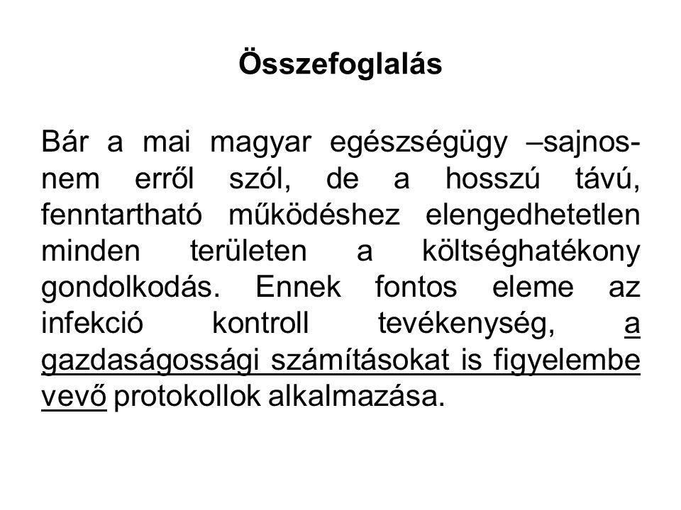 Összefoglalás Bár a mai magyar egészségügy –sajnos- nem erről szól, de a hosszú távú, fenntartható működéshez elengedhetetlen minden területen a költséghatékony gondolkodás.