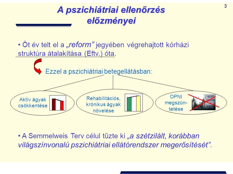 """3 A pszichiátriai ellenőrzés előzményei Öt év telt el a """"reform jegyében végrehajtott kórházi struktúra átalakítása (Eftv.) óta."""