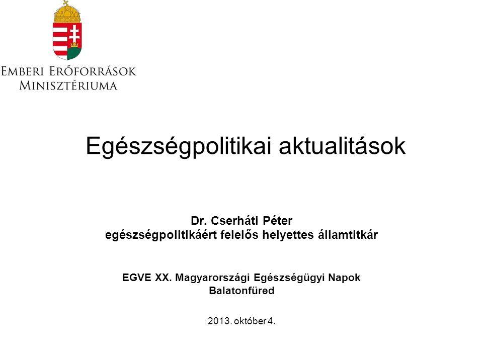 Egészségpolitikai aktualitások Dr. Cserháti Péter egészségpolitikáért felelős helyettes államtitkár EGVE XX. Magyarországi Egészségügyi Napok Balatonf