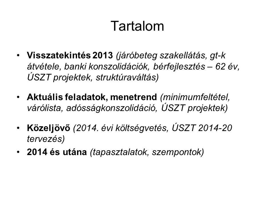 Visszatekintés Járóbeteg szakellátás (2x törvényalkotás, nyilatkozatok, mögöttes felelősség, társulás, ÚSZT projektek – de érdeklődés csökkent!) 28+4 gt szolgáltató átalakítása (2x törvényalkotás, kjt bevezetése, 6,2 Mrd Ft banki konszolidáció – vs.