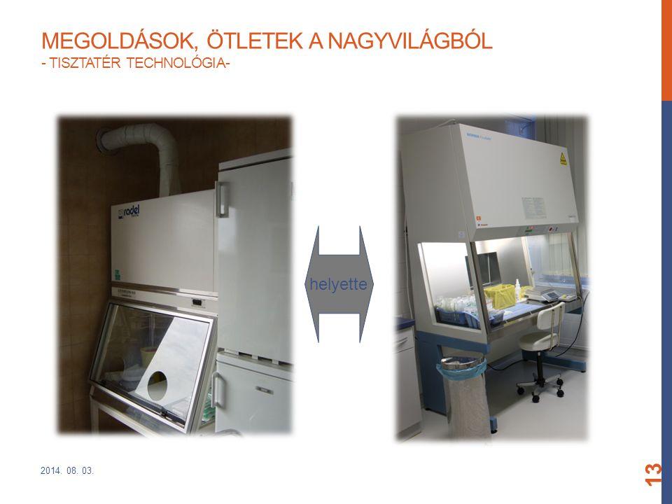 MEGOLDÁSOK, ÖTLETEK A NAGYVILÁGBÓL - TISZTATÉR TECHNOLÓGIA- 2014. 08. 03. 13 helyette