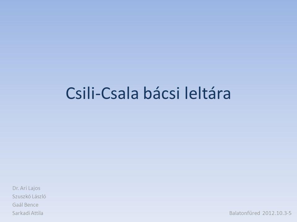 Csili-Csala bácsi leltára Dr. Ari Lajos Szuszkó László Gaál Bence Sarkadi Attila Balatonfüred 2012.10.3-5
