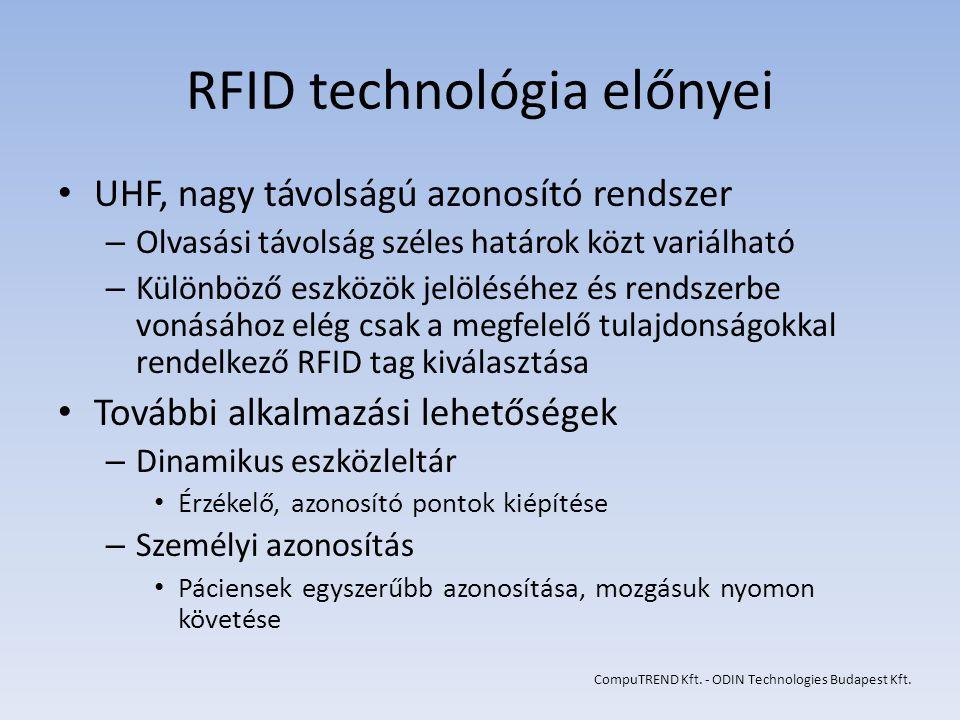 RFID technológia előnyei UHF, nagy távolságú azonosító rendszer – Olvasási távolság széles határok közt variálható – Különböző eszközök jelöléséhez és