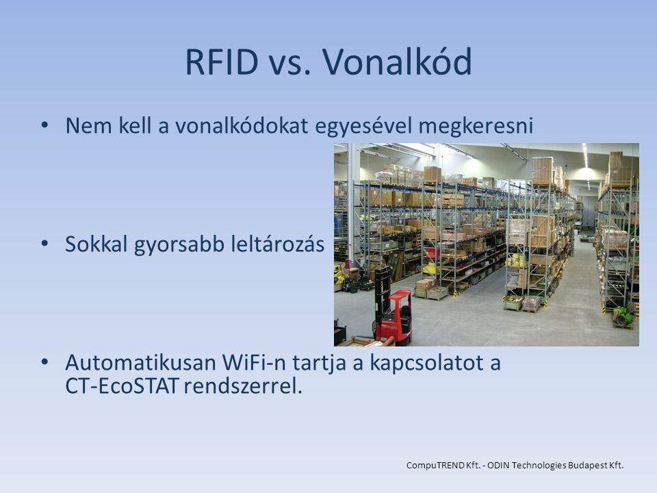 RFID vs. Vonalkód Nem kell a vonalkódokat egyesével megkeresni Sokkal gyorsabb leltározás Automatikusan WiFi-n tartja a kapcsolatot a CT-EcoSTAT rends