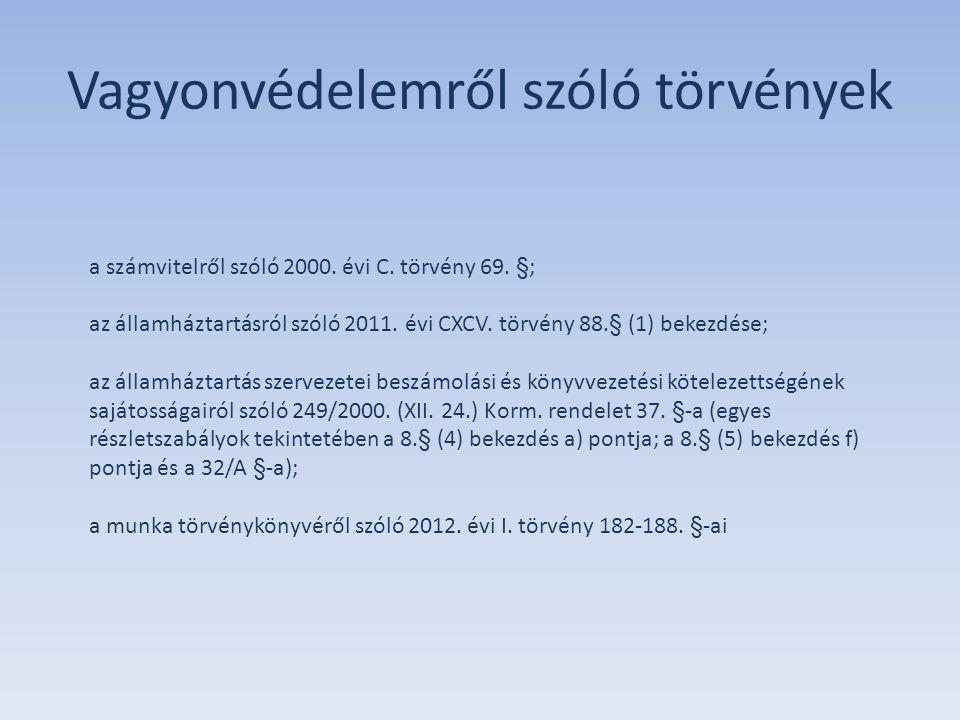 Vagyonvédelemről szóló törvények a számvitelről szóló 2000. évi C. törvény 69. §; az államháztartásról szóló 2011. évi CXCV. törvény 88.§ (1) bekezdés