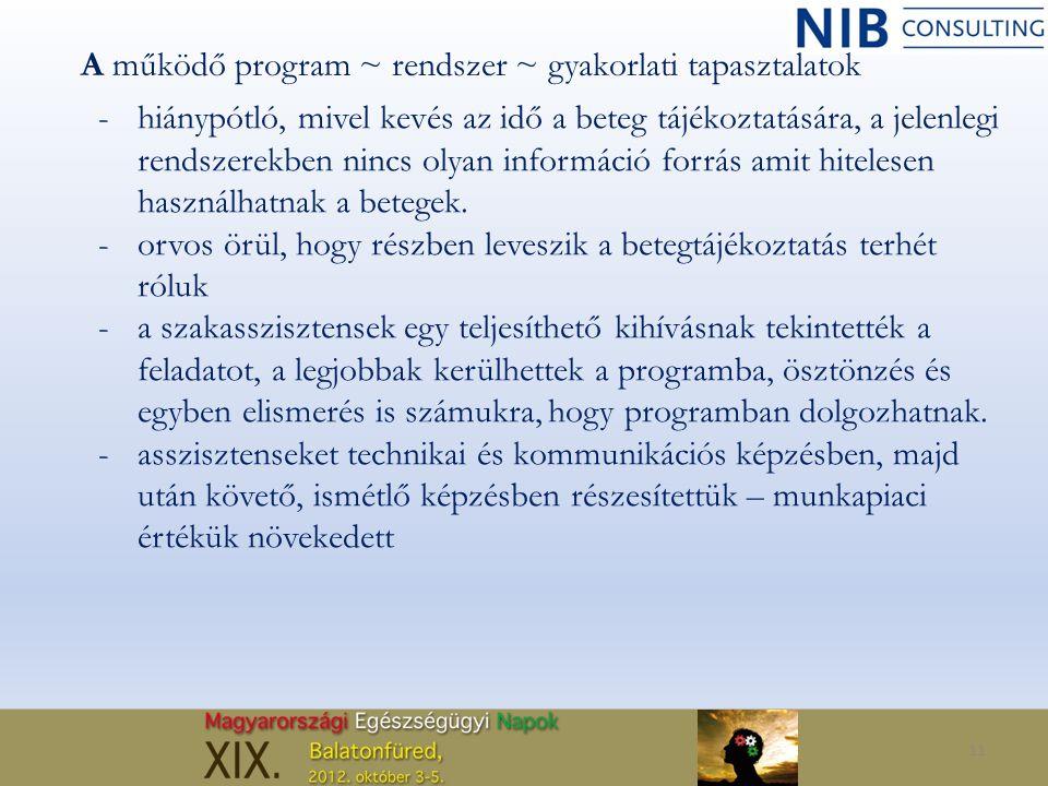 11 A működő program ~ rendszer ~ gyakorlati tapasztalatok -hiánypótló, mivel kevés az idő a beteg tájékoztatására, a jelenlegi rendszerekben nincs oly