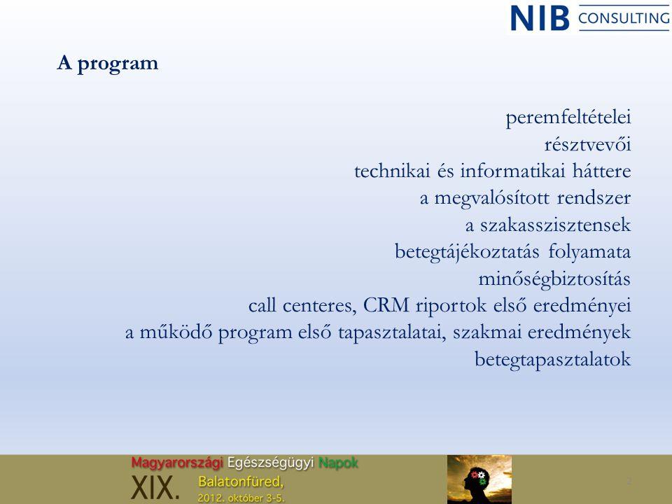 2 A program peremfeltételei résztvevői technikai és informatikai háttere a megvalósított rendszer a szakasszisztensek betegtájékoztatás folyamata minő