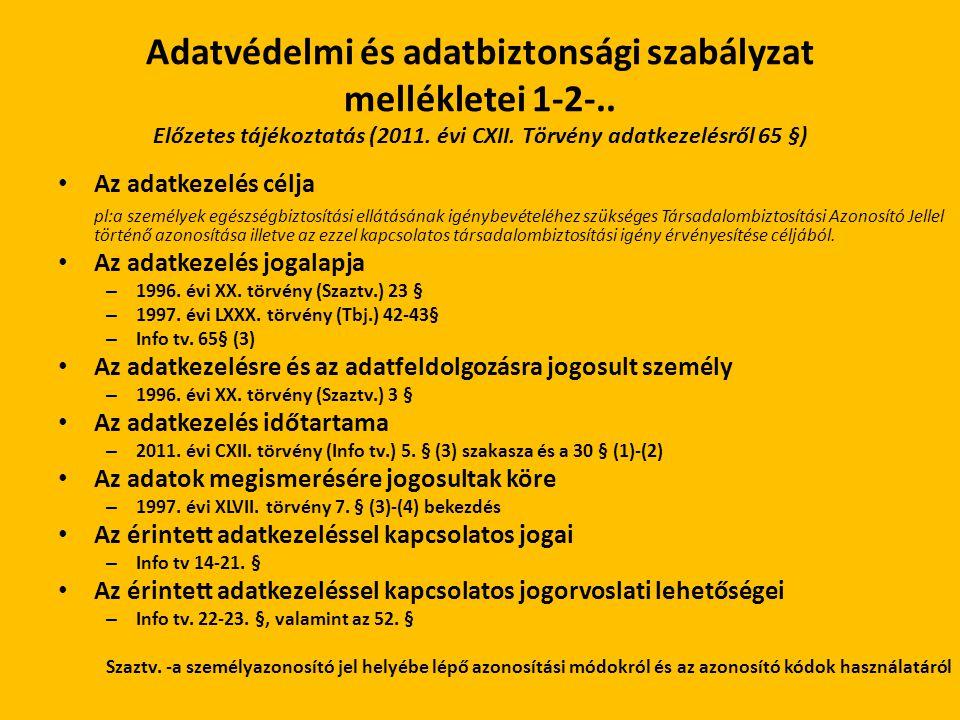 Adatvédelmi és adatbiztonsági szabályzat mellékletei 1-2-.. Előzetes tájékoztatás (2011. évi CXII. Törvény adatkezelésről 65 §) Az adatkezelés célja p