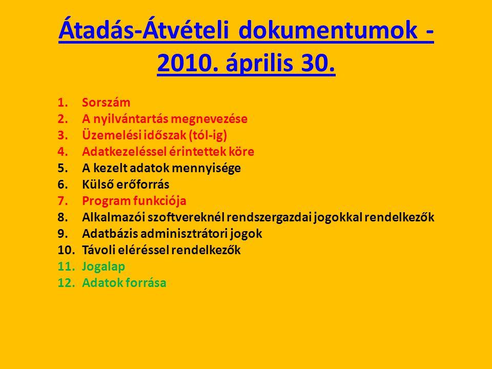 Átadás-Átvételi dokumentumok - 2010. április 30. 1.Sorszám 2.A nyilvántartás megnevezése 3.Üzemelési időszak (tól-ig) 4.Adatkezeléssel érintettek köre