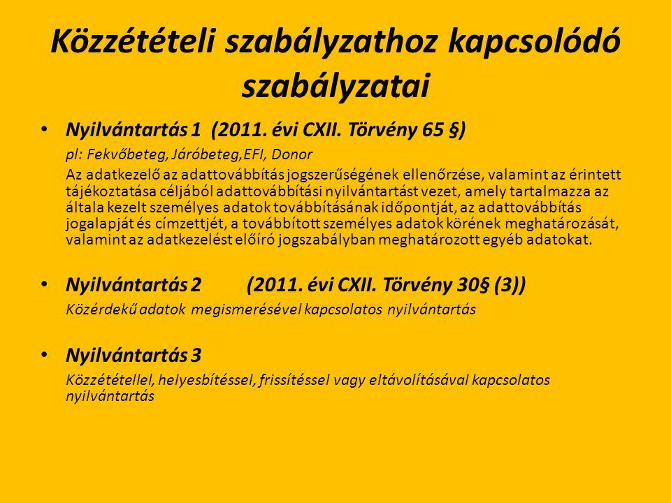 Közzétételi szabályzathoz kapcsolódó szabályzatai Nyilvántartás 1 (2011. évi CXII. Törvény 65 §) pl: Fekvőbeteg, Járóbeteg,EFI, Donor Az adatkezelő az