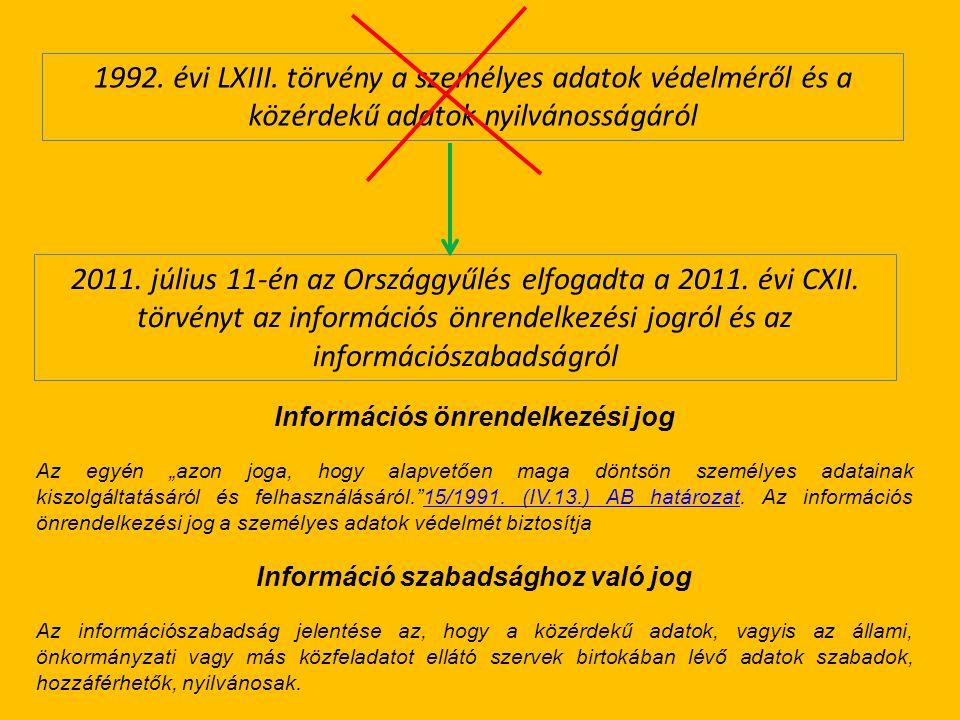 2011. július 11-én az Országgyűlés elfogadta a 2011. évi CXII. törvényt az információs önrendelkezési jogról és az információszabadságról 1992. évi LX