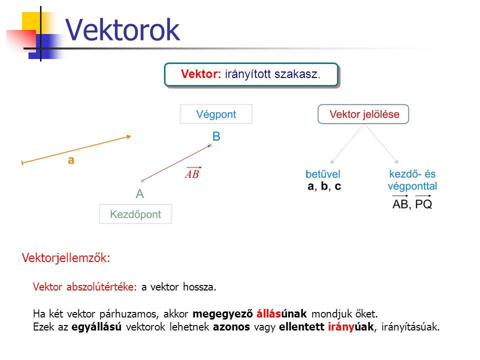 Vektorok Vektor: irányított szakasz. Vektorjellemzők: Vektor abszolútértéke: a vektor hossza. Ha két vektor párhuzamos, akkor megegyező állásúnak mond
