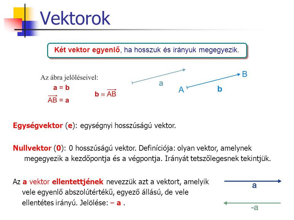 Vektorok Két vektor egyenlő, ha hosszuk és irányuk megegyezik. Egységvektor (e): egységnyi hosszúságú vektor. Nullvektor (0): 0 hosszúságú vektor. Def