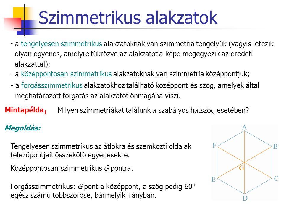 Szimmetrikus alakzatok - a tengelyesen szimmetrikus alakzatoknak van szimmetria tengelyük (vagyis létezik olyan egyenes, amelyre tükrözve az alakzatot