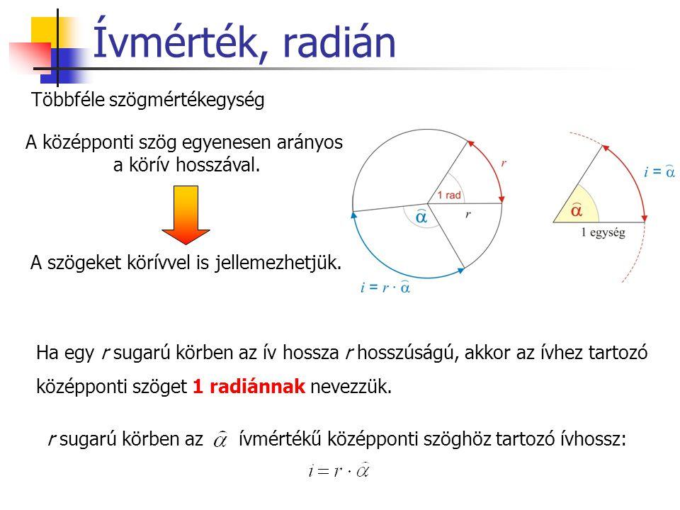 Ívmérték, radián Többféle szögmértékegység A középponti szög egyenesen arányos a körív hosszával. A szögeket körívvel is jellemezhetjük. Ha egy r suga