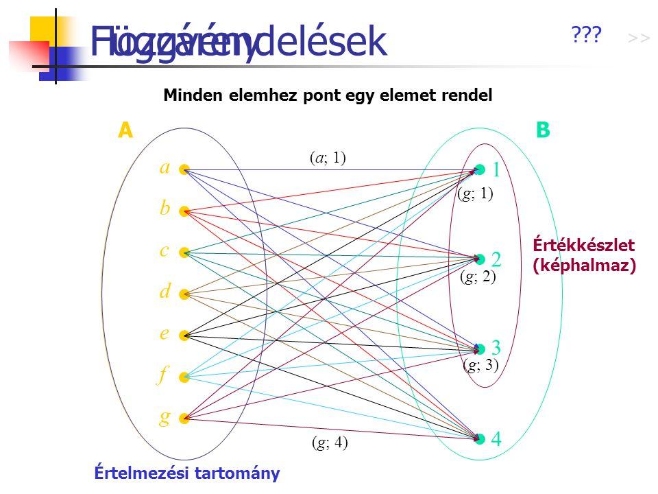 Hozzárendelések AB a b c d e f g 2 1 3 4 (a; 1) (g; 4) (g; 3) (g; 1) (g; 2) ??? Függvény Minden elemhez pont egy elemet rendel Értelmezési tartomány É