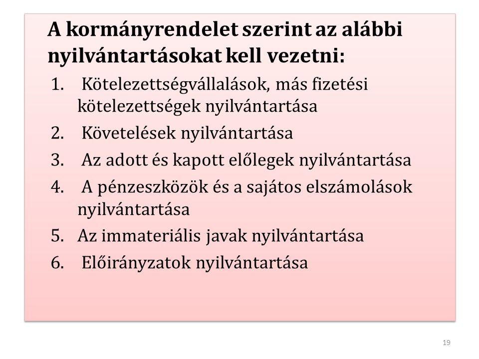 A kormányrendelet szerint az alábbi nyilvántartásokat kell vezetni: 1. Kötelezettségvállalások, más fizetési kötelezettségek nyilvántartása 2. Követel