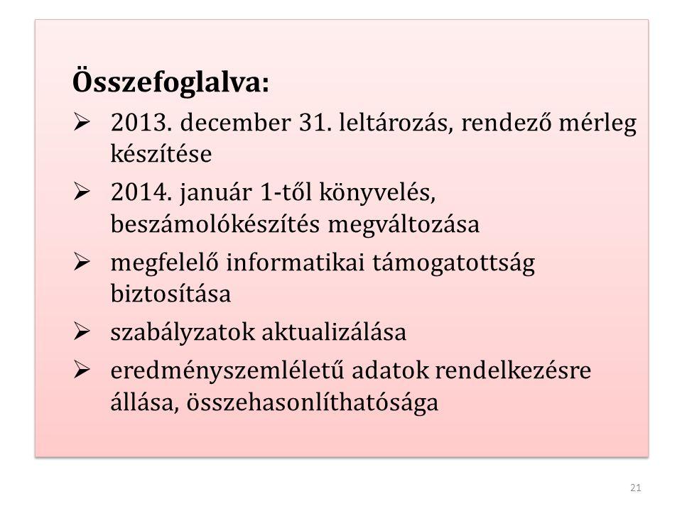 21 Összefoglalva:  2013. december 31. leltározás, rendező mérleg készítése  2014. január 1-től könyvelés, beszámolókészítés megváltozása  megfelelő
