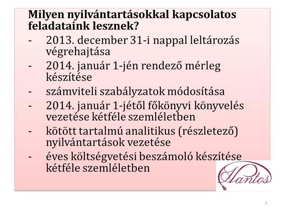 7 Milyen nyilvántartásokkal kapcsolatos feladataink lesznek? -2013. december 31-i nappal leltározás végrehajtása -2014. január 1-jén rendező mérleg ké