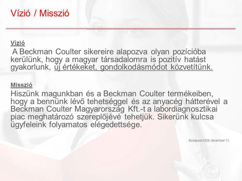 Vízió / Misszió Vízió A Beckman Coulter sikereire alapozva olyan pozícióba kerülünk, hogy a magyar társadalomra is pozitív hatást gyakorlunk, új érték