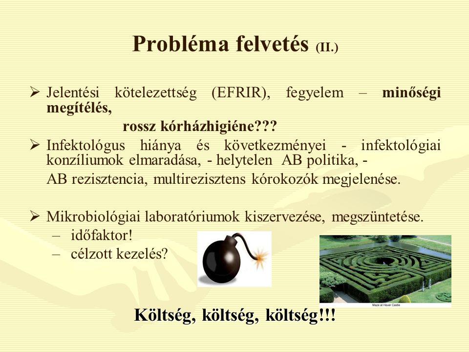 Probléma felvetés (II.)   Jelentési kötelezettség (EFRIR), fegyelem – minőségi megítélés, rossz kórházhigiéne???   Infektológus hiánya és következ