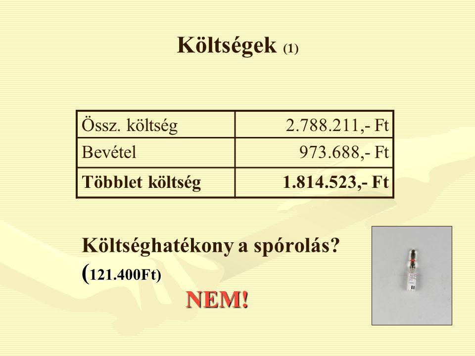 Költségek (1) Költséghatékony a spórolás? ( 121.400Ft) NEM! Össz. költség2.788.211,- Ft Bevétel973.688,- Ft Többlet költség1.814.523,- Ft