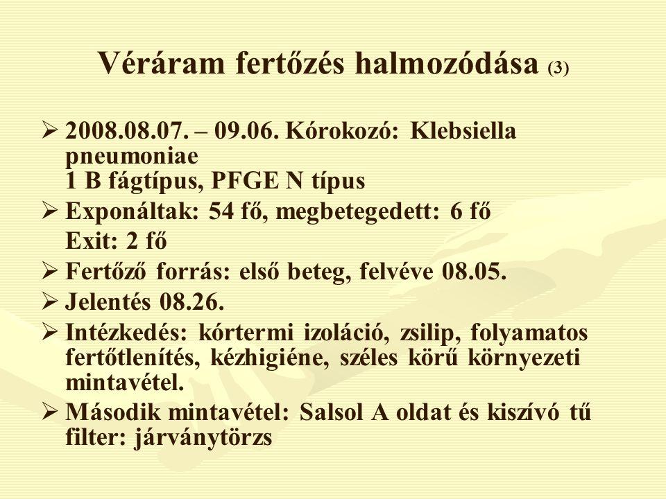 Véráram fertőzés halmozódása (3)   2008.08.07. – 09.06. Kórokozó: Klebsiella pneumoniae 1 B fágtípus, PFGE N típus   Exponáltak: 54 fő, megbeteged