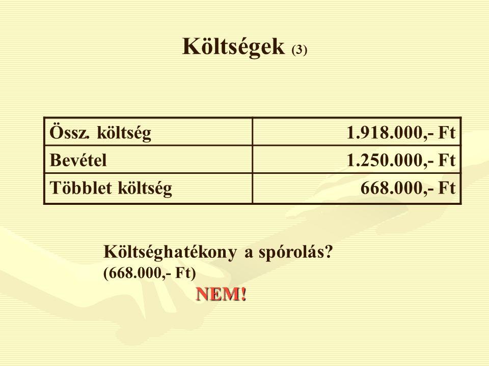 Költségek (3) Össz. költség1.918.000,- Ft Bevétel1.250.000,- Ft Többlet költség668.000,- Ft Költséghatékony a spórolás? (668.000,- Ft)NEM!