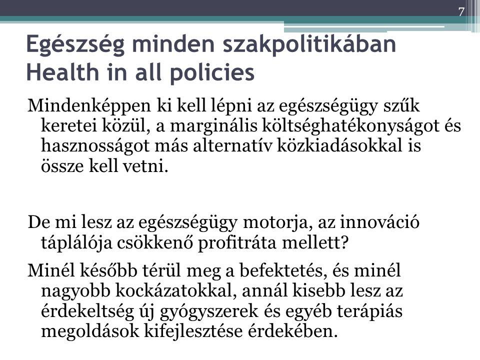 8 Domináns stratégiák, ICER – költség- hatékonyság ICER ábra Egészségügyi technológia költsége, Ft Hasznosság - QALY Domináns stratégia Olcsóbb és hatékonyabb Inkre- mentálisan költség- haté- konyabb Hatékonyabb, de rosszabb CE Vajon felejtsük el az inkrementális költséghatékonyságot, mert semmire sem jut többletforrás.