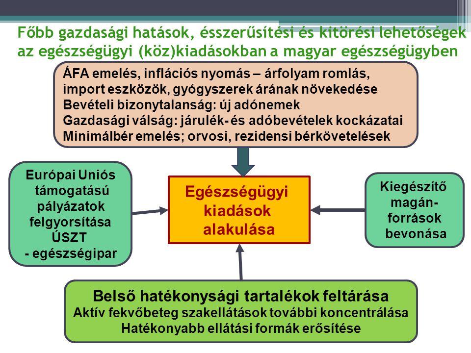 Főbb gazdasági hatások, ésszerűsítési és kitörési lehetőségek az egészségügyi (köz)kiadásokban a magyar egészségügyben Egészségügyi kiadások alakulása