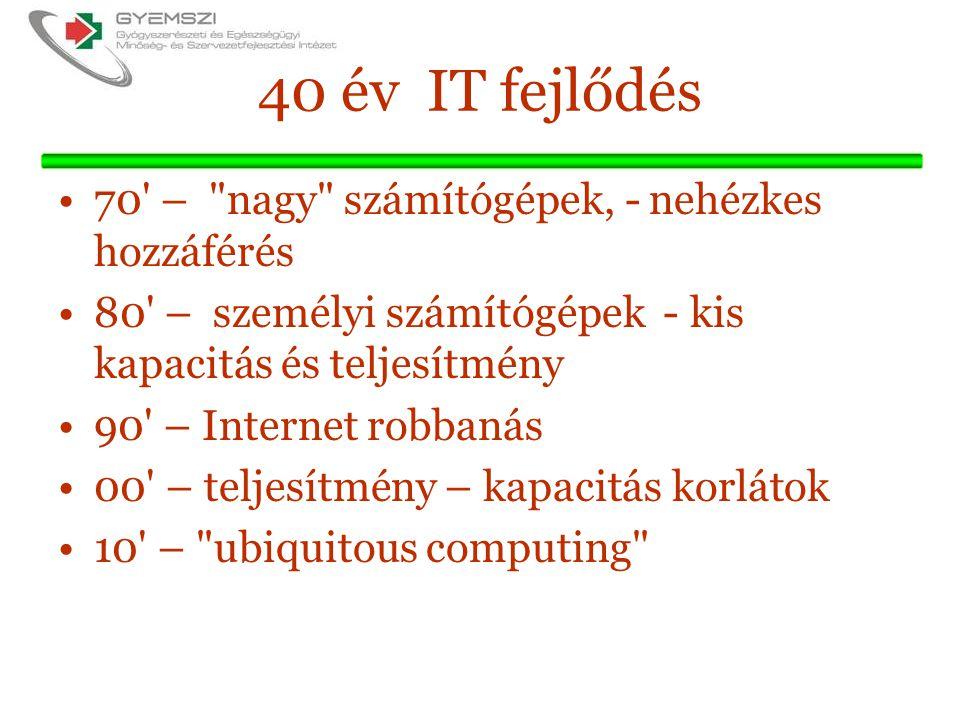 40 év IT fejlődés 70 – nagy számítógépek, - nehézkes hozzáférés 80 – személyi számítógépek - kis kapacitás és teljesítmény 90 – Internet robbanás 00 – teljesítmény – kapacitás korlátok 10 – ubiquitous computing