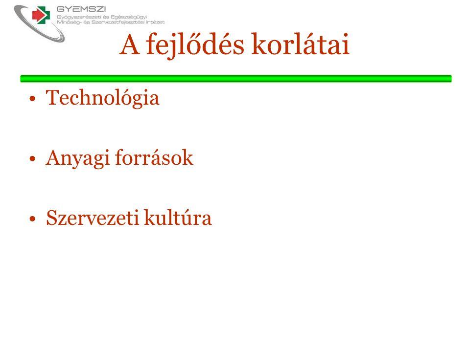 A fejlődés korlátai Technológia Anyagi források Szervezeti kultúra