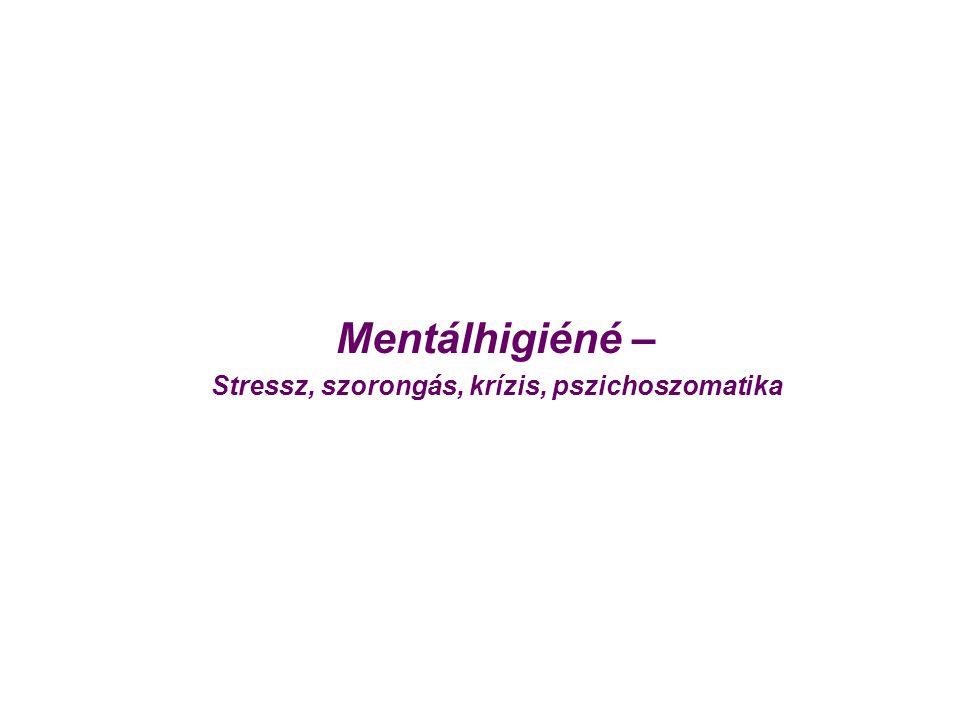 Mentálhigiéné – Stressz, szorongás, krízis, pszichoszomatika