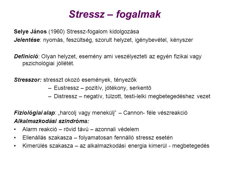 Stressz – fogalmak Selye János (1960) Stressz-fogalom kidolgozása Jelentése: nyomás, feszültség, szorult helyzet, igénybevétel, kényszer Definíció: Olyan helyzet, esemény ami veszélyezteti az egyén fizikai vagy pszichológiai jóllétét.