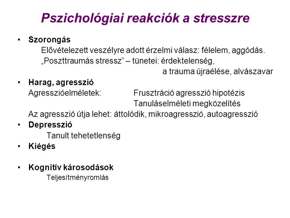 Pszichológiai reakciók a stresszre Szorongás Elővételezett veszélyre adott érzelmi válasz: félelem, aggódás.