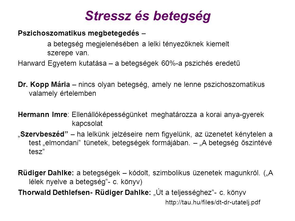 Stressz és betegség Pszichoszomatikus megbetegedés – a betegség megjelenésében a lelki tényezőknek kiemelt szerepe van. Harward Egyetem kutatása – a b