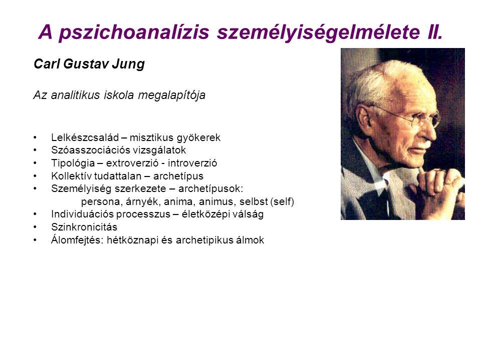 A pszichoanalízis személyiségelmélete II. Carl Gustav Jung Az analitikus iskola megalapítója Lelkészcsalád – misztikus gyökerek Szóasszociációs vizsgá