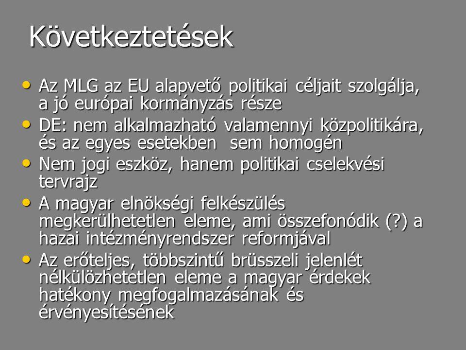 Következtetések Az MLG az EU alapvető politikai céljait szolgálja, a jó európai kormányzás része Az MLG az EU alapvető politikai céljait szolgálja, a