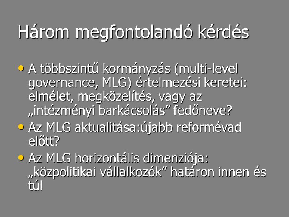 """Három megfontolandó kérdés A többszintű kormányzás (multi-level governance, MLG) értelmezési keretei: elmélet, megközelítés, vagy az """"intézményi barká"""