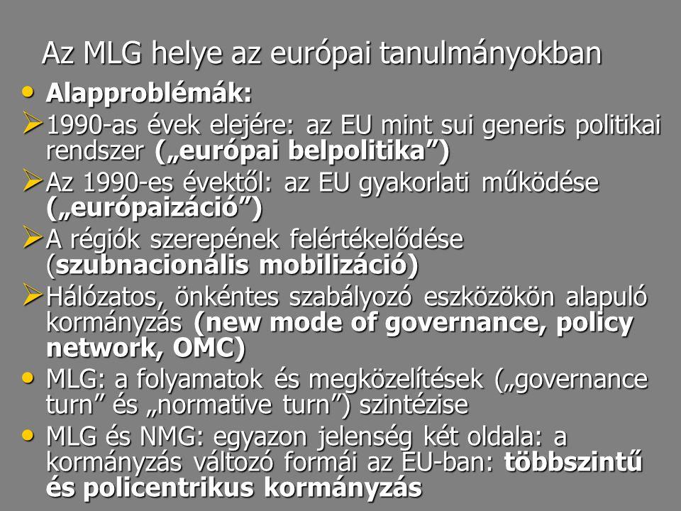 """Az MLG helye az európai tanulmányokban Alapproblémák: Alapproblémák:  1990-as évek elejére: az EU mint sui generis politikai rendszer (""""európai belpo"""