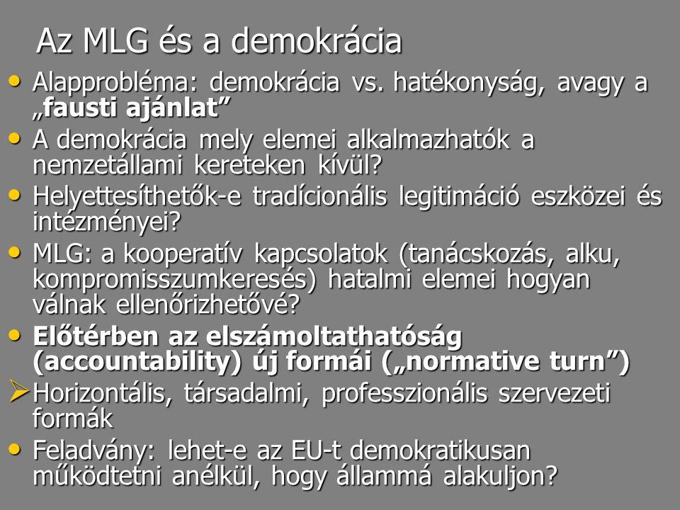 """Az MLG és a demokrácia Alapprobléma: demokrácia vs. hatékonyság, avagy a """"fausti ajánlat"""" Alapprobléma: demokrácia vs. hatékonyság, avagy a """"fausti aj"""