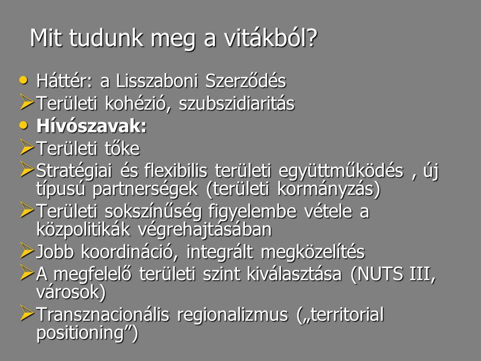 Mit tudunk meg a vitákból? Háttér: a Lisszaboni Szerződés Háttér: a Lisszaboni Szerződés  Területi kohézió, szubszidiaritás Hívószavak: Hívószavak: 