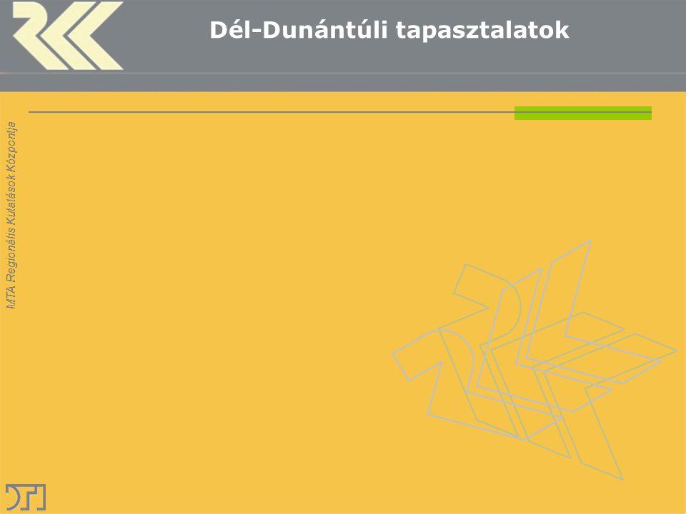 MTA Regionális Kutatások Központja Dél-Dunántúli tapasztalatok
