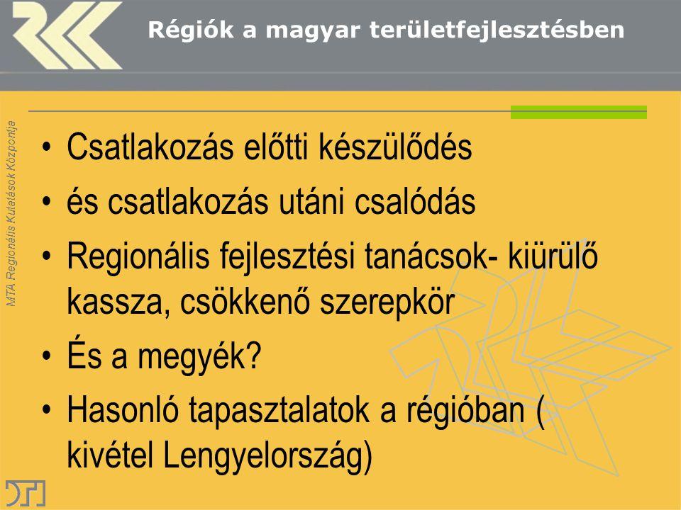 MTA Regionális Kutatások Központja Régiók a magyar területfejlesztésben Csatlakozás előtti készülődés és csatlakozás utáni csalódás Regionális fejlesz