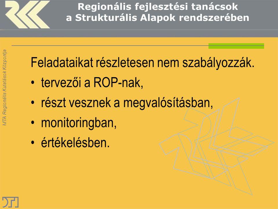 MTA Regionális Kutatások Központja Regionális fejlesztési ügynökségek a Strukturális Alapok rendszerében Hova is tartoznak (aki fizet az rendel) ROP KSZ/VÁTI Hiányzik a helyzetbe hozó szereplő Tanácsok politikai megrendelők.